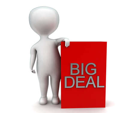 big deal: 3d man presenting big deal concept in white isolated background - 3d rendering ,  front angle view Stock Photo