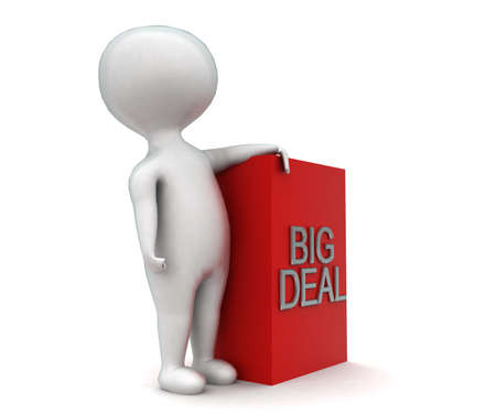 big deal: 3d man presenting big deal concept in white isolated background - 3d rendering ,  side angle view Stock Photo