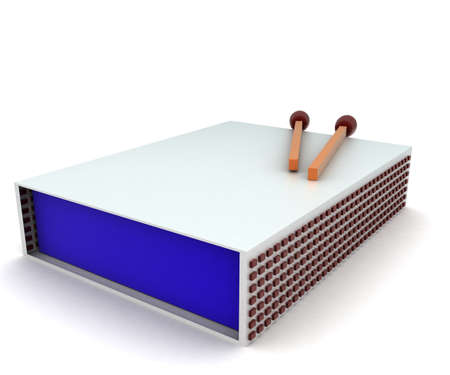 match box: 3d match box and match stick concept in white isolated background - 3d rendering ,   side angle view Stock Photo