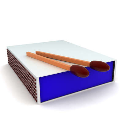 match box: 3d match box and match stick concept in white isolated background - 3d rendering ,   front angle view