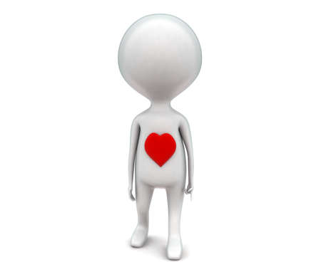 projecting: 3d man with love shape heart projecting on his body concept in white isolated background - 3d rendering ,  front angle view Stock Photo