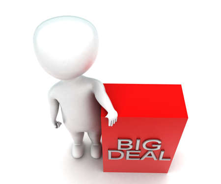 big deal: 3d man presenting big deal concept in white isolated background - 3d rendering ,  top angle view Stock Photo