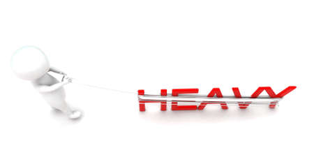 pulling: 3d man pulling heavy text concept in white isolated background - 3d rendering ,  top angle view