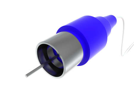 audio video: 3d audio video connector end plug concept in white isolated background - 3d rendering ,  front angle view