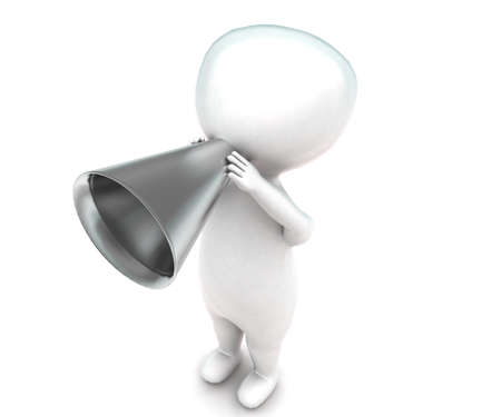 annoucement: 3d man making annoucement concept in white isolated background - 3d rendering ,  top angle view Stock Photo