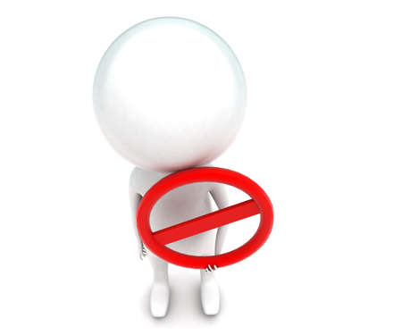 restriction: 3d man holding restriction sign concept in white isolated background - 3d rendering ,  top angle view