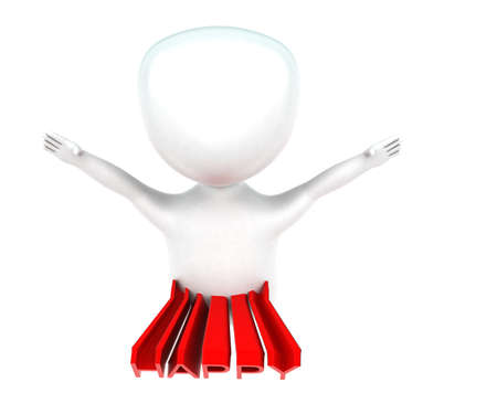 projected: 3d man jumping - happy text projected on body concept in white isolated background - 3d rendering ,  top angle view