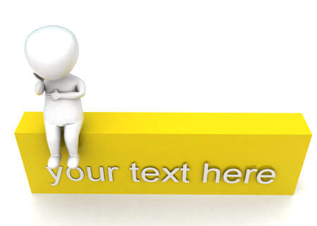 your text here: 3d man sitting on your text here block concept in white isolated background - 3d rendering ,  top angle view Stock Photo