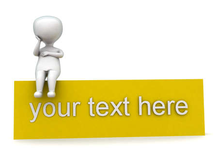 your text here: 3d man sitting on your text here block concept in white isolated background - 3d rendering ,  front angle view