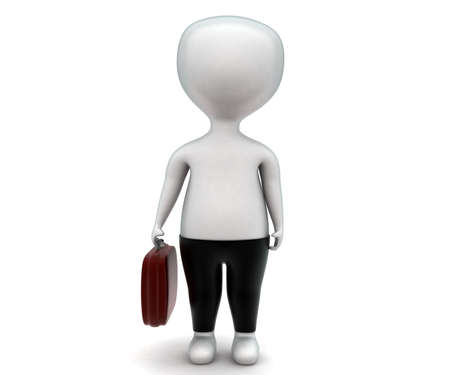 trouser: 3d man wearing trouser and holding a briefcase concept  in white isolated background - 3d rendering ,  front angle view