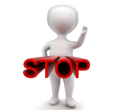 hand stop: 3d man making stop gesture using hand - stop text projected concept in white isolated background - 3d rendering ,  front angle view