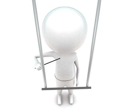 instructing: 3d man instructing music from hanging note concept in white isolated background - 3d rendering ,  top angle view