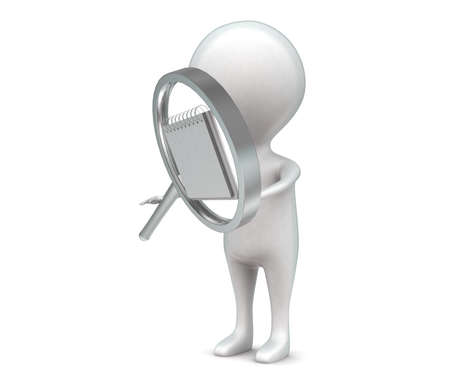 almanac: 3d man holding magnifier with calender in it concept in white isolated background , side angle view Stock Photo