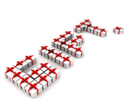 arranged: 3d gift text arranged with gifts concept in white isolated background , side angle view