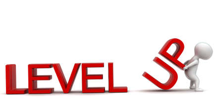 levels: 3d man presenting level up concept in white isolated background , front angle view