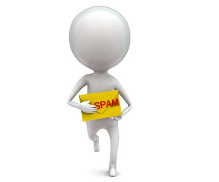 spamming: 3d man holding spam message in hands concept in white isolated background , front  angle view