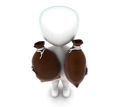 sacks: 3d man holding sacks concept in white isolated background , top angle view