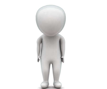 front angle: 3d man standing and looking downwards concept in white isolated background , front angle view