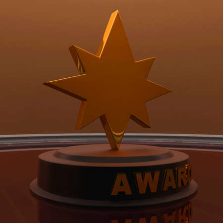 star award: 3d golden star trophy - award concept , front angle view Stock Photo