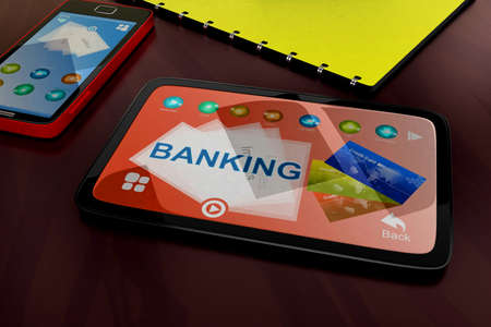 visualizing: 3d tablet visualizing banking concept in white isolated background , top angle view