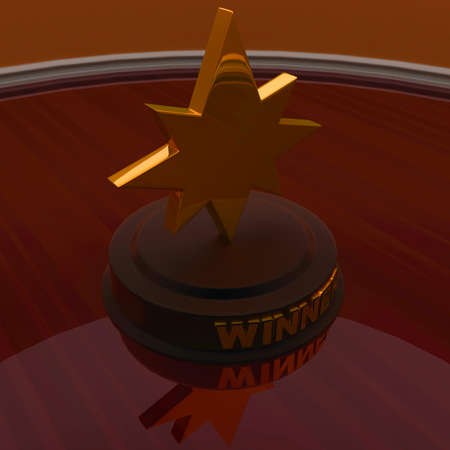 top angle view: 3d golden star trophy - winner concept ,top angle view