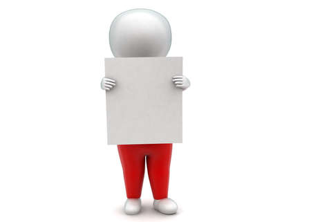 pant: 3d man wearing pant and holding white banner concept in white isolated background - 3d rendering , front angle view