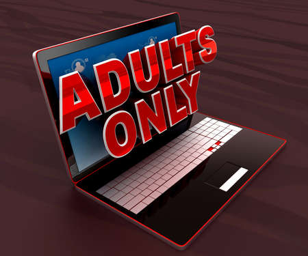 adult only: 3d laptop projecting adults only text through screen concept , side angle view Stock Photo
