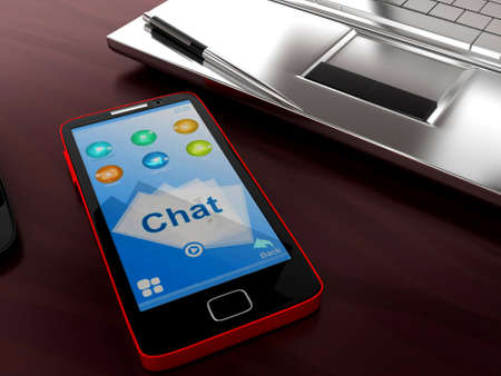 visualizing: 3d mobile phone visualizing chat conceptin white isolated background , top angle view