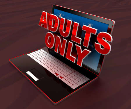 adults only: 3d laptop projecting adults only text through screen concept , top angle view