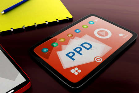visualizing: 3d tablet visualizing ppd concept in white isolated background , front angle view