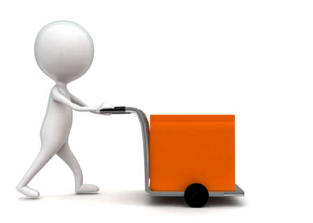 trolly: 3d man moving cargo with the help of trolly concept in white isolated background - 3d rendering ,  side angle view