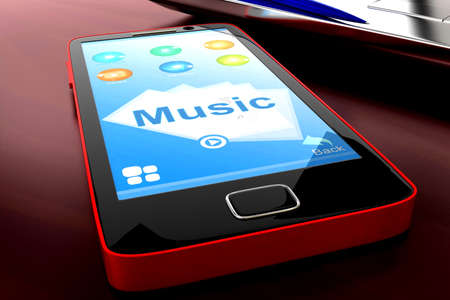 visualizing: 3d mobile phone visualizing music concept in white isolated background , front angle view
