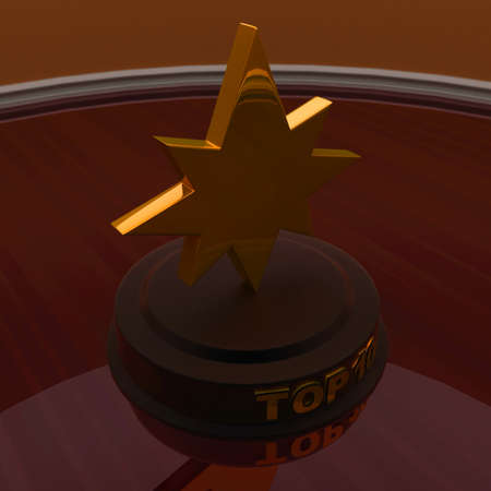 top: 3d golden star trophy - top 10 concept , top angle view Stock Photo