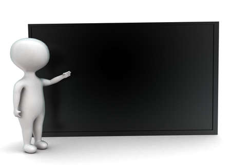 front angle: 3d man presenting black board concept in white isolated background - 3d rendering ,  front angle view