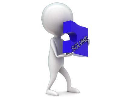 solving: 3d man holding puzzle with solving text concept in white isolated background - 3d rendering ,  side angle view