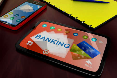 visualizing: 3d tablet visualizing banking concept in white isolated background , front angle view Stock Photo