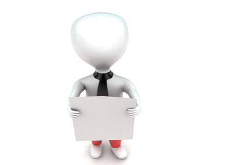 pant: 3d man wearing pant and holding white banner concept in white isolated background - 3d rendering ,  top angle view