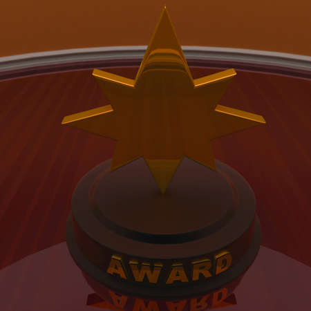 star award: 3d golden star trophy - award concept , top angle view