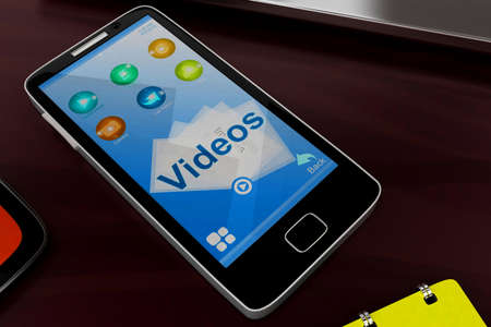 visualizing: 3d mobile phone visualizing videos concept in white isolated background , top angle view