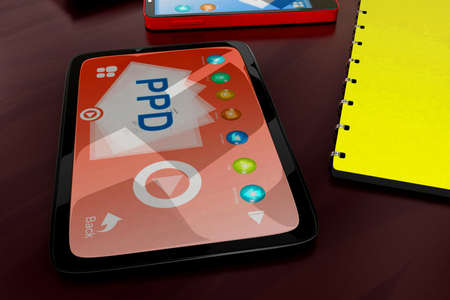 visualizing: 3d tablet visualizing ppd concept in white isolated background , side angle view