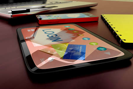 visualizing: 3d tablet visualizing login concept in white isolated background , side angle view Stock Photo