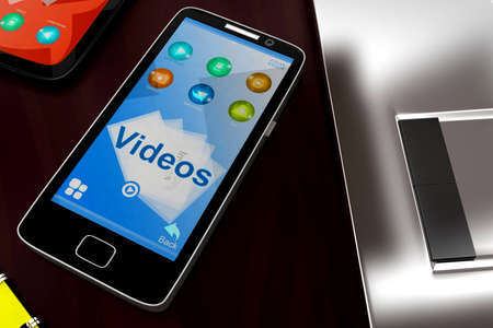 visualizing: 3d mobile phone visualizing videos concept in white isolated background , close angle view