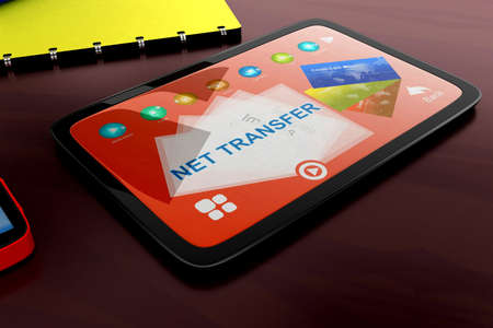 visualizing: 3d tablet visualizing net transfer concept in white isolated background , side angle view