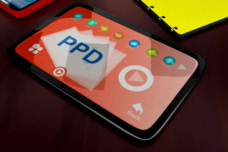 visualizing: 3d tablet visualizing ppd concept in white isolated background , top angle view Stock Photo