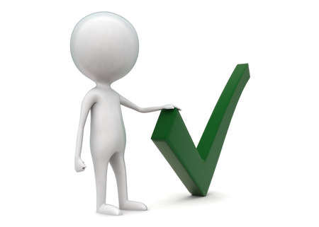 green tick: 3d man presenting green tick concept in white isolated background - 3d rendering ,  side angle view