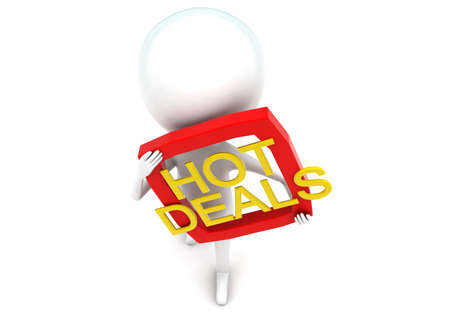 hot deals: 3d man presenting hot deals concept in white isolated background - 3d rendering ,  top angle view Stock Photo