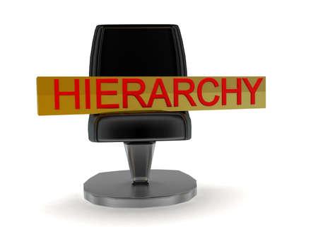 jerarquia: 3d concepto de silla de jerarquía en el fondo blanco aislado - 3D, la vista de ángulo frontal Foto de archivo