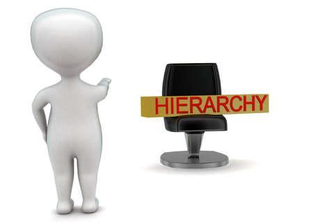 jerarquia: 3d hombre apuntando hacia el concepto de silla de jerarquía en el fondo blanco aislado - 3D, la vista de ángulo frontal