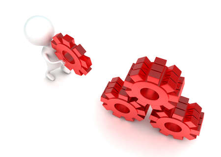 collecting: 3d  collecting gears to manage work concept in white isolated background - 3d rendering ,  top angle view
