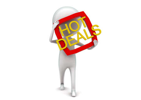 front angle: 3d man presenting hot deals concept in white isolated background - 3d rendering ,  front angle view